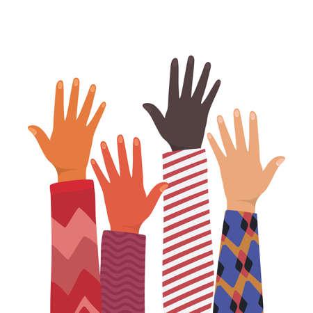 open hands up of different types of skins design, diversity people multiethnic race and community theme Vector illustration Vektoros illusztráció