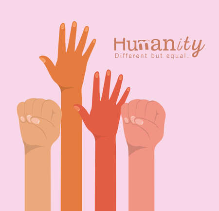 humanity different but equal and diversity hands up design, people multiethnic race and community theme Vector illustration 矢量图像