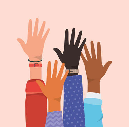 open hands up of different types of skins design, diversity people multiethnic race and community theme Vector illustration