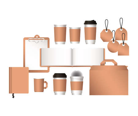 mockup bag and coffee mugs of corporate identity and stationery design theme Vector illustration