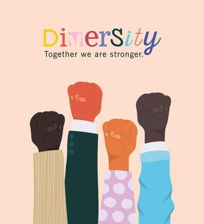 diversity together we are stronger and fists hands up design, people multiethnic race and community theme Vector illustration