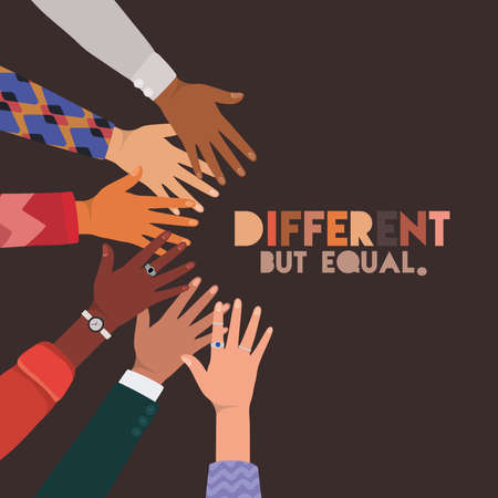different but equal and diversity skins hands touching each other design, people multiethnic race and community theme Vector illustration Vettoriali