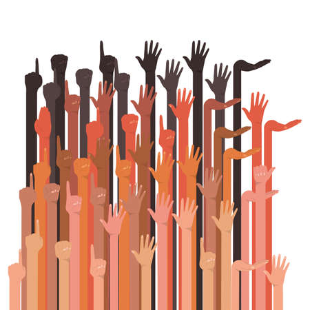 hands up group of different types of skins design, diversity people multiethnic race and community theme Vector illustration Vetores