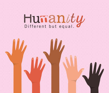 humanity different but equal and diversity open hands up design, people multiethnic race and community theme Vector illustration Vettoriali