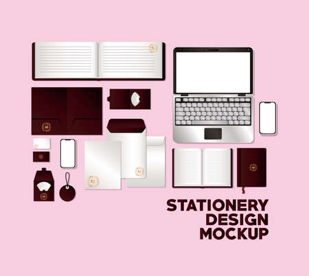 mockup set with dark red branding of corporate identity and stationery design theme Vector illustration