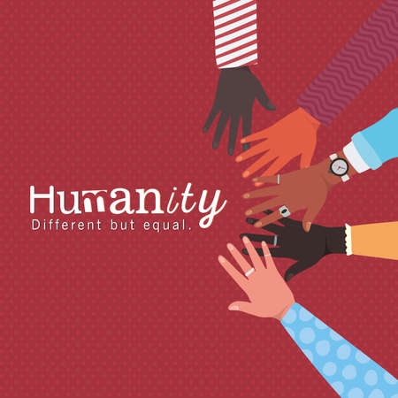 humanity different but equal and diversity hands touching each other design, people multiethnic race and community theme Vector illustration