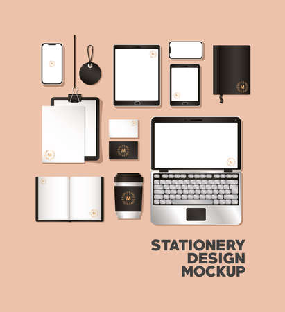 mockup set with black branding of corporate identity and stationery design theme Vector illustration