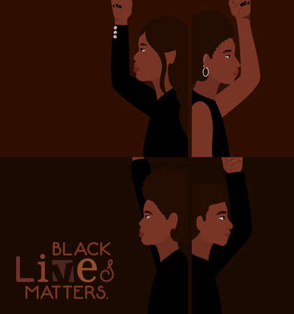 Black women and men cartoons in side view with black lives matters text design of Protest justice and racism theme Vector illustration
