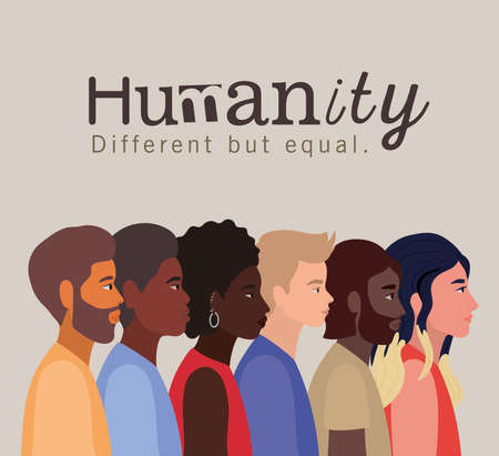 humanity women and men cartoons design, diversity people multiethnic race and community theme Vector illustration