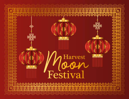 harvest moon festival with red lanterns and frame design, Oriental chinese and celebration theme Vector illustration