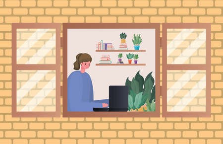 Woman with laptop working at window design of Work from home theme Vector illustration