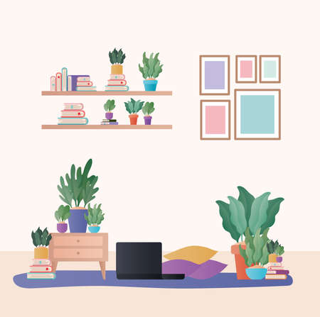 laptop with cushions and plants in living room design, Home decoration interior living building apartment and residential theme Vector illustration