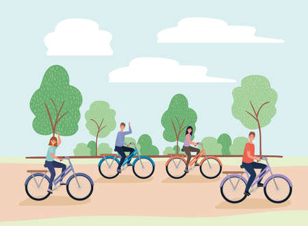 women and men cartoons riding bikes at park design, Nature outdoor and season theme Vector illustration