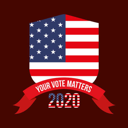 your vote matters 2020 with usa shield and ribbon design, President election government and campaign theme Vector illustration Vettoriali