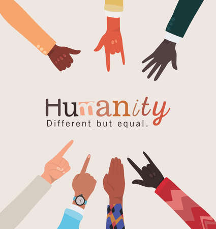 humanity different but equal and diversity hands skin design, people multiethnic race and community theme Vector illustration