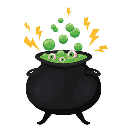 Halloween witch bowl with eyes design, Holiday and scary theme Vector illustration