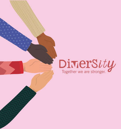 diversity together we are stronger with hands design, people multiethnic race and community theme Vector illustration