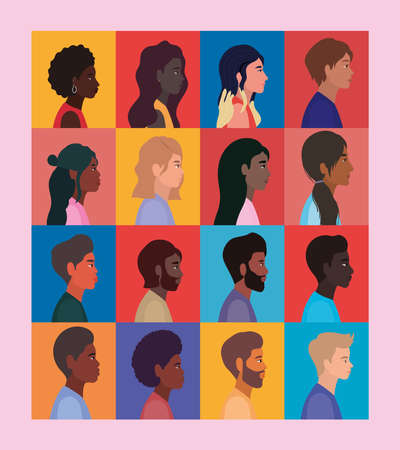 diversity of women and men cartoons in frames design, people multiethnic race and community theme Vector illustration