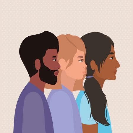 diversity skins of women and man cartoons design, people multiethnic race and community theme Vector illustration Illustration