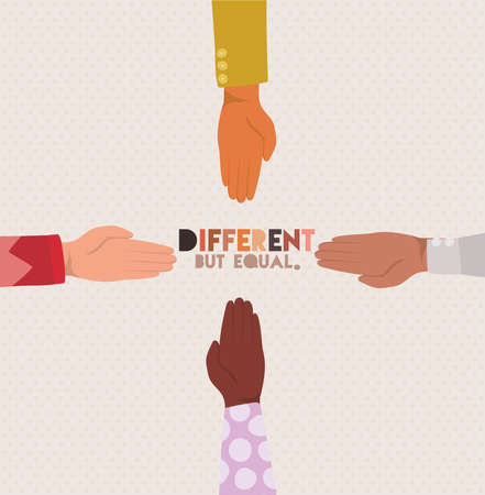 different but equal and diversity skin hands design, people multiethnic race and community theme Vector illustration