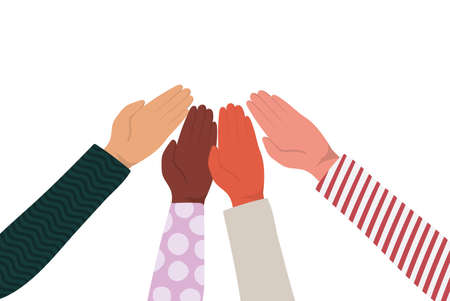 fist touching each other of different types of skins design, diversity people multiethnic race and community theme Vector illustration