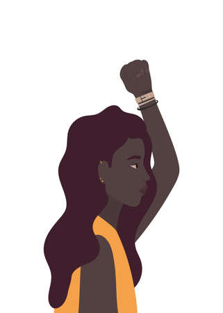 woman cartoon and fist up in side view design, Manifestation protest and demonstration theme Vector illustration