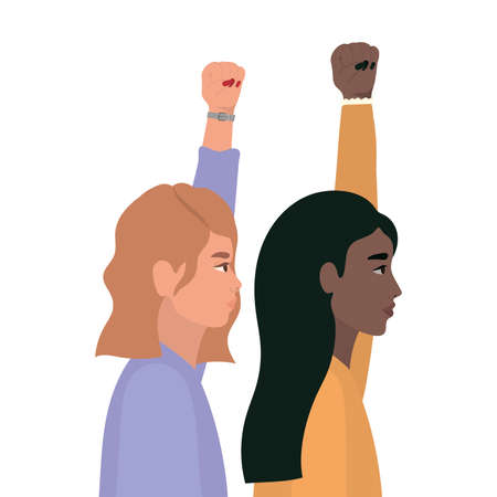 women cartoons with fist up in side view design, Manifestation protest and demonstration theme Vector illustration