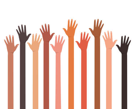 open hands of different types of skins design, diversity people multiethnic race and community theme Vector illustration Illustration