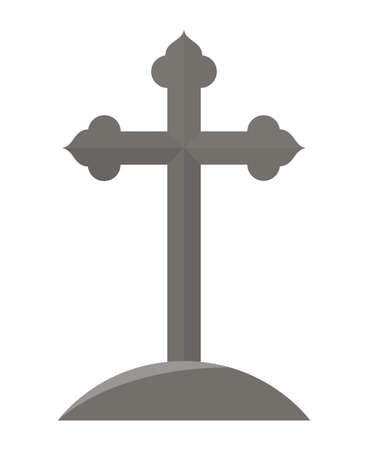cross grave icon design, death tomb cementary and scary theme Vector illustration