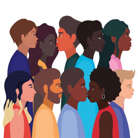diversity skins of women and men cartoons design, people multiethnic race and community theme Vector illustration