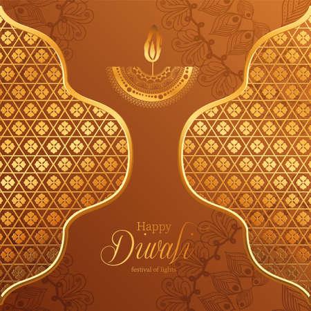 Happy diwali gold mandala candle and frames on brown background design, Festival of lights theme Vector illustration