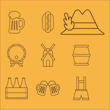 oktoberfest line style set of icons design, Germany festival and celebration theme Vector illustration
