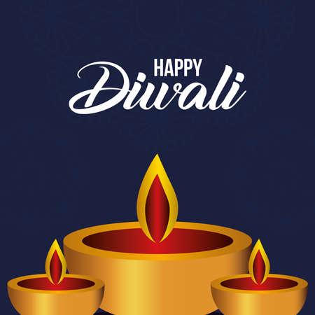 Happy diwali candles on blue background design, Festival of lights theme Vector illustration