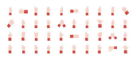 hand sign language alphabet flat style set of icons design of People help finger person and communication theme Vector illustration