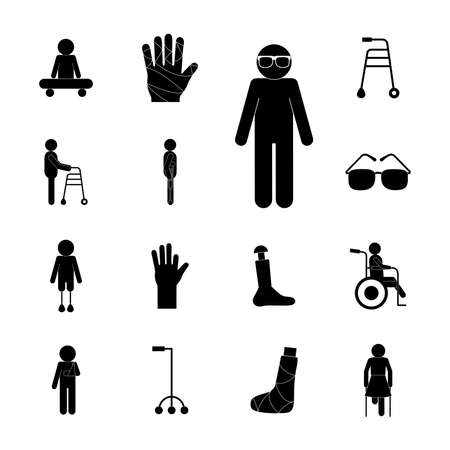 silhouette style icons collection of Handicapped disability and medical theme Vector illustration