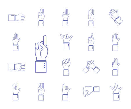 hand sign language alphabet line and fill style set of icons design of People help finger person and communication theme Vector illustration