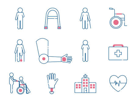 line style set icons of Handicapped disability and medical theme Vector illustration