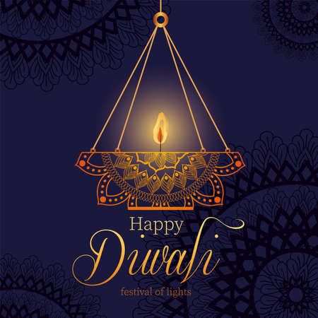 Happy diwali hanging mandala candle on dark blue background design, Festival of lights theme Vector illustration