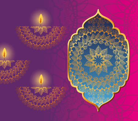 Happy diwali mandala in frame and candles on pink background design, Festival of lights theme Vector illustration