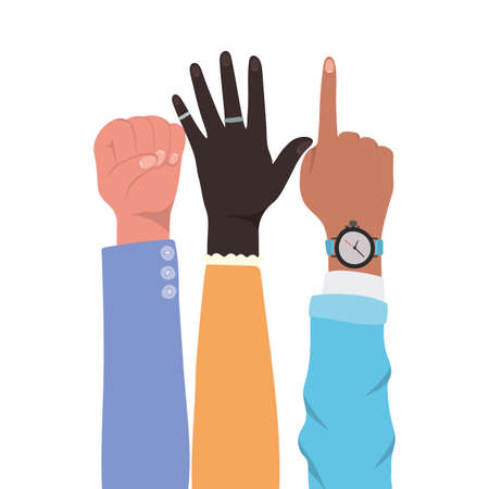 fist number one sign and open hands up of different types of skins design, diversity people multiethnic race and community theme Vector illustration 矢量图像