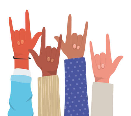 rock sign with hands of different types of skins design, diversity people multiethnic race and community theme Vector illustration Illustration