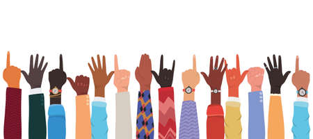 hands up of different types of skins design, diversity people multiethnic race and community theme Vector illustration