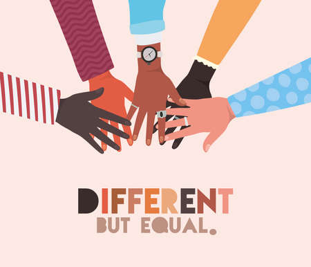 different but equal and diversity skins hands touching each other design, people multiethnic race and community theme Vector illustration 矢量图像