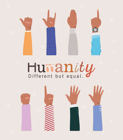 humanity different but equal and diversity hands up design, people multiethnic race and community theme Vector illustration Illustration