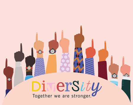 diversity together we are stronger and number one hands up design, people multiethnic race and community theme Vector illustration 矢量图像