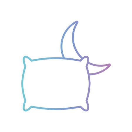 sleeping pillow and moon gradient style icon design, insomnia sleep and night theme Vector illustration 向量圖像