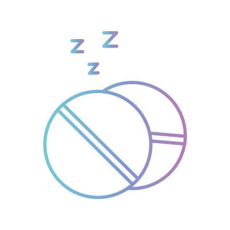 sleeping pills gradient style icon design, insomnia sleep and night theme Vector illustration