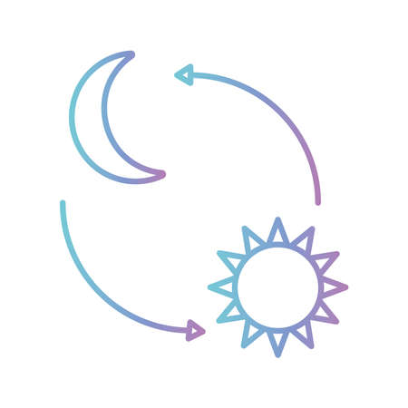 moon and sun with arrows gradient style icon design, insomnia sleep and night theme Vector illustration