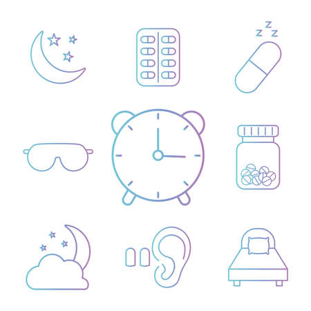 insomnia gradient style icon set design, sleep and night theme Vector illustration 版權商用圖片 - 155769736