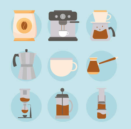 coffee methods set on blue background design of drink caffeine breakfast and beverage theme Vector illustration